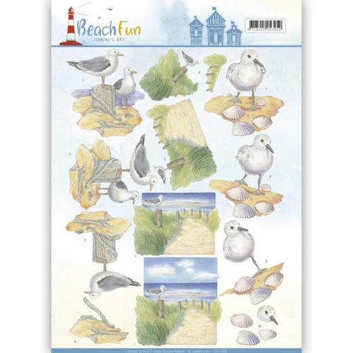 Jeanines Art CD11068 - 10 stuks knipvellen - Jeanines Art- Beach Fun - Seagulls