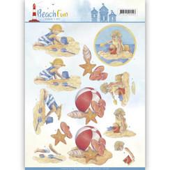 CD11067 - 10 stuks knipvellen - Jeanines Art- Beach Fun - Playing in the Sun