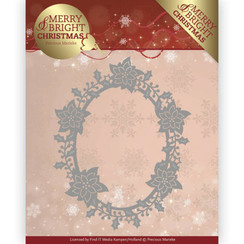 PM10126 - Mal - Precious Marieke - Merry and Bright Christmas - Poinsettia Oval