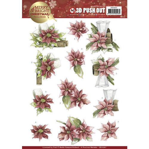 Precious Marieke SB10267 - Uitdrukvel - Precious Marieke - Merry and Bright Christmas - Poinsettia in Red
