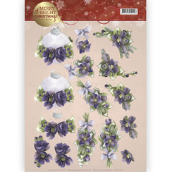 CD11123 - 10 stuks knipvellen - Precious Marieke - Merry and Bright -Bouquets in purple