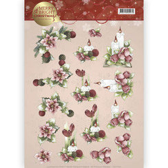 CD11122 - 10 stuks knipvellen - Precious Marieke - Merry and Bright - Candles in red