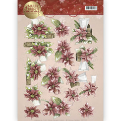 CD11121 - 10 stuks knipvellen - Precious Marieke - Merry and Bright - Poinsettia in red