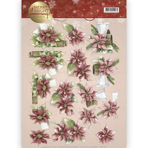 Precious Marieke CD11121 - 10 stuks knipvellen - Precious Marieke - Merry and Bright - Poinsettia in red
