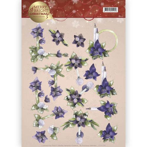 Precious Marieke CD11120 - 10 stuks knipvellen - Precious Marieke - Merry and Bright - Amaryllis in purple