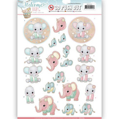SB10263 - 3D Uitdrukvel - Yvonne Creations - Welcome Baby - Little Elephants