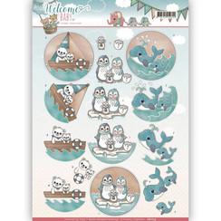 CD11117 - 3D-10 stuks knipvellen - Yvonne Creations - Welcome Baby - By The Sea