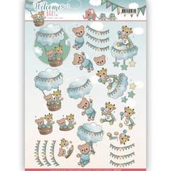 CD11116 - 3D-10 stuks knipvellen - Yvonne Creations - Welcome Baby - In The Air