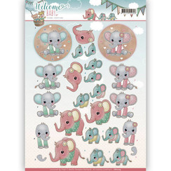 CD11115 - 3D-10 stuks knipvellen - Yvonne Creations - Welcome Baby - Little Elephants