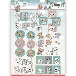 CD11114 - 3D-10 stuks knipvellen - Yvonne Creations - Welcome Baby - Animal Art