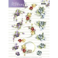 CD11083 - 10 stuks knipvellen - Precious Marieke - Timeless Flowers - Violets