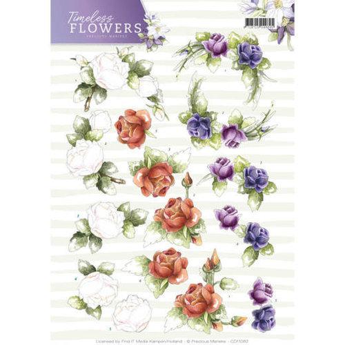 Precious Marieke CD11082 - 10 stuks knipvellen - Precious Marieke - Timeless Flowers - Roses