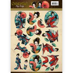 CD11076 - 10 stuks knipvellen - Amy Design Oriental - Geishas