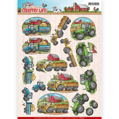 Yvonne Creations CD11061 - 10 stuks knipvellen - Yvonne Creations - Country Life - Tractors