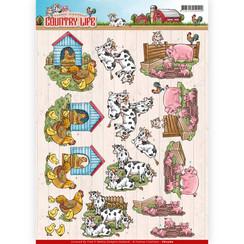 CD11060 - 10 stuks knipvellen - Yvonne Creations - Country Life - Farm Animals