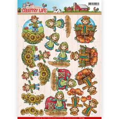 CD11059 - 10 stuks knipvellen - Yvonne Creations - Country Life - Scarecrow