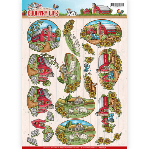 Yvonne Creations CD11058 - 10 stuks knipvellen - Yvonne Creations - Country Life - Farm House