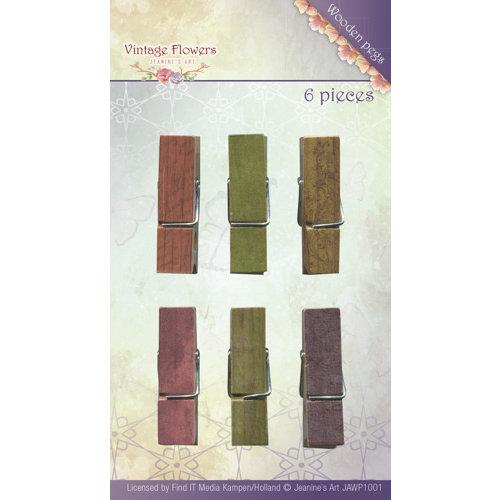 Jeanines Art JAWP1001 - Jeanines Art- Vintage Flowers - Wooden Pegs