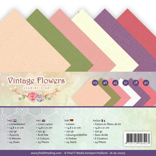 Jeanines Art JA-A5-10005 - Linnenpakket - A5 - Jeanines Art- Vintage Flowers