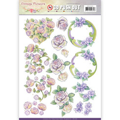 SB10236 - Uitdrukvel - Jeanines Art- Vintage Flowers - Romantic Purple