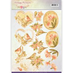 CD11049 - 10 stuks knipvellen - Jeanines Art- Vintage Flowers - Pale Vintage