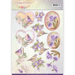 CD11048 - 10 stuks knipvellen - Jeanines Art- Vintage Flowers - Pale Violet