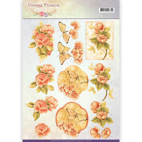 Jeanines Art CD11047 - 10 stuks knipvellen - Jeanines Art- Vintage Flowers - Sweetheart Vintage