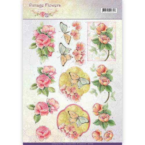 Jeanines Art CD11046 - 10 stuks knipvellen - Jeanines Art- Vintage Flowers - Sweetheart Pink