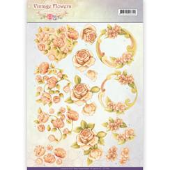 CD11045 - 10 stuks knipvellen - Jeanines Art- Vintage Flowers - Romantic Vintage