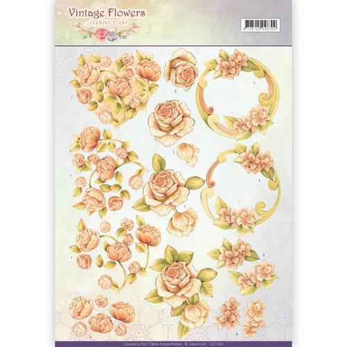 Jeanines Art CD11045 - 10 stuks knipvellen - Jeanines Art- Vintage Flowers - Romantic Vintage