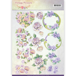CD11044 - 10 stuks knipvellen - Jeanines Art- Vintage Flowers - Romantic Purple