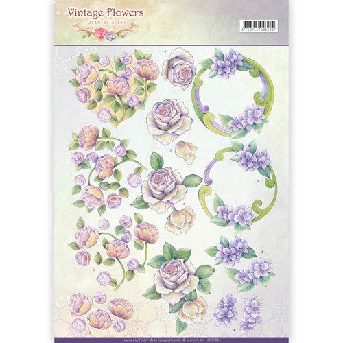 Jeanines Art CD11044 - 10 stuks knipvellen - Jeanines Art- Vintage Flowers - Romantic Purple