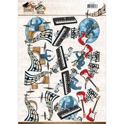 CD11064 - 10 stuks knipvellen - Amy Design - Sounds of Music - Pop