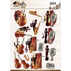 CD11062 - 10 stuks knipvellen - Amy Design - Sounds of Music - Jazz