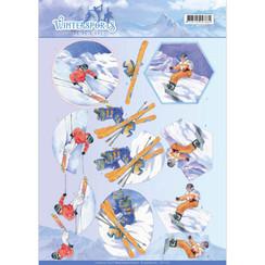 CD11031 - 10 stuks knipvellen - Jeanines Art- Wintersports - Snowfun