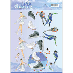 CD11030 - 10 stuks knipvellen - Jeanines Art- Wintersports - Ice Skating