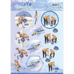 CD11029 - 10 stuks knipvellen - Jeanines Art- Wintersports - Ice Hockey