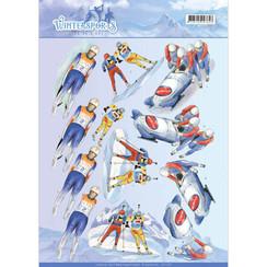 CD11028 - 10 stuks knipvellen - Jeanines Art- Wintersports - Biathlon