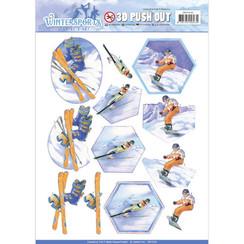 SB10230 - Uitdrukvel - Jeanines Art- Wintersports - Snowfun