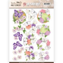 SB10219 - Uitdrukvel - Jeanines Art- Classic Butterflies and Flowers - White Butterflies