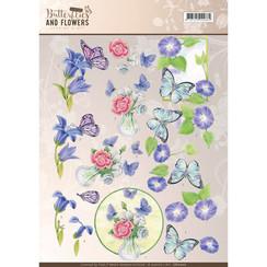 CD11000 - 10 stuks knipvellen - Jeanines Art- Classic Butterflies and Flowers - Blue Flowers