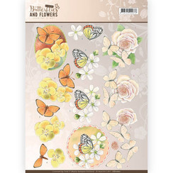 CD11001 - 10 stuks knipvellen - Jeanines Art- Classic Butterflies and Flowers - Yellow Flowers