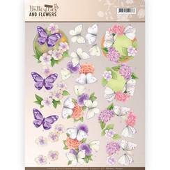 CD11002 - 10 stuks knipvellen - Jeanines Art- Classic Butterflies and Flowers - Purple Flowers