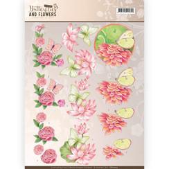 CD11003 - 10 stuks knipvellen - Jeanines Art- Classic Butterflies and Flowers - Pink Flowers