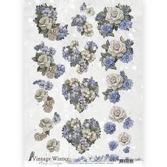 CD10985 - 10 stuks knipvellen - Amy Design - Vintage winter - Winter Flowers
