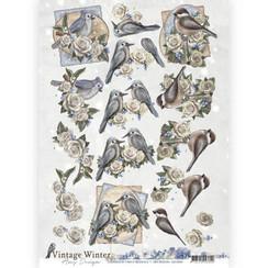 CD10984 - 10 stuks knipvellen - Amy Design - Vintage winter - Winterbirds