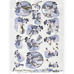 CD10983 - 10 stuks knipvellen - Amy Design - Vintage winter - Snowman