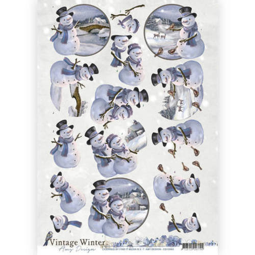 Amy Design CD10983 - 10 stuks knipvellen - Amy Design - Vintage winter - Snowman