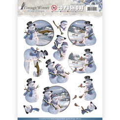 SB10214 - Uitdrukvel - Amy Design - Vintage Winter - Snowman