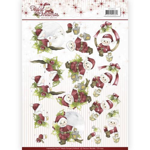Precious Marieke CD10943 - 10 stuks knipvellen - Precious Marieke - Joyful Christmas - Santa on branch